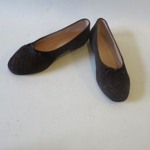 BOTTEGA VENETA SUEDE WOVEN TOE FLAT SHOES 7.5 *